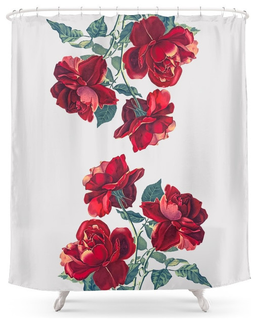Shop Houzz Society6 Society6 Red Roses Shower Curtain Shower