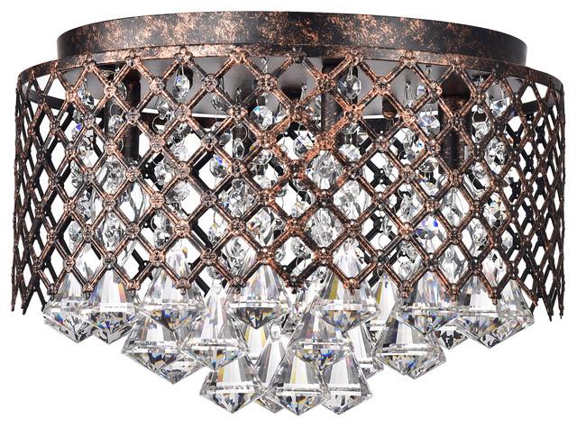 4 light antique copper lattice crystal flush mount chandelier glam