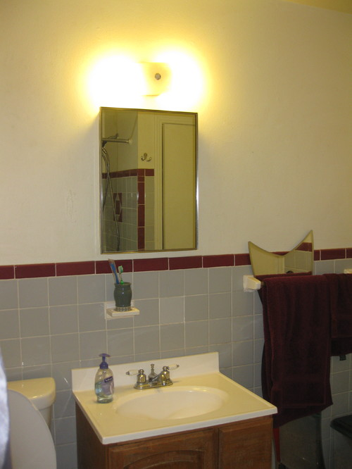 Vintage MaroonGray Tile Bathroom Decisions