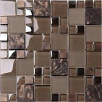 """Brown Glass Mosaic Kitchen Backsplash Tile, 12"""" X 12 ..."""