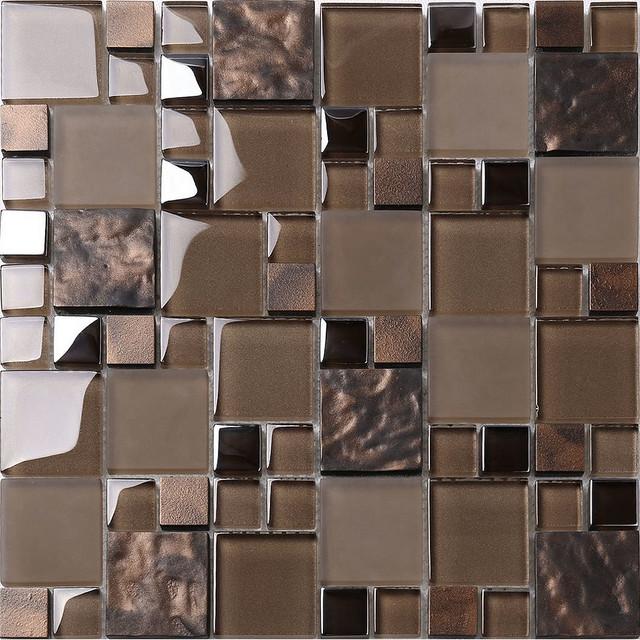 mosaic kitchen tile cabinet styles brown glass backsplash contemporary