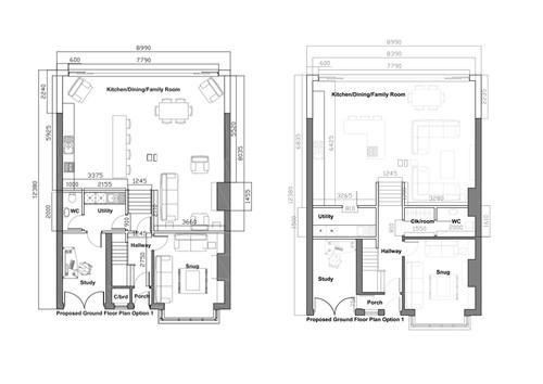 Layout of ground floor, open plan.
