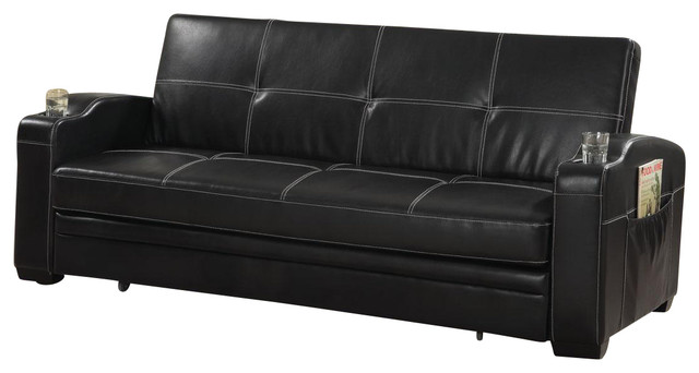 lounger sofa with pull out trundle patio dining set faux soft leather bed sleeper w/ storage cup ...