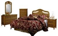 West Indies Tropical Rattan and Wicker 5 Piece Bedroom ...