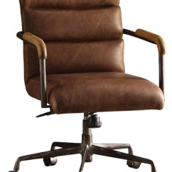 Desk Chair Brown Leather Swinging Lift Video Antonio Executive Office Industrial Chairs Vintage
