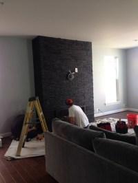 Ugly black stone fireplace!