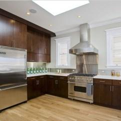 Trendy Kitchen Wallpaper Aid Double Oven - Cherry Slab Doors Contemporary San ...
