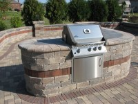 Paver Patio, Built-In grill with Bar, Water Feature, Landscape