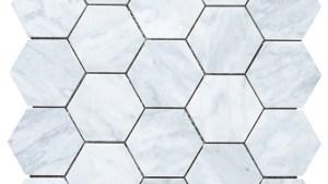 "Carrara Marble Hexagon Mosaic Tile, 12""x12"" Traditional"