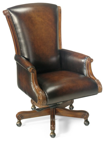traditional leather office chair Hooker Seven Seas Distressed Brown Leather English Swivel Office Chair - Traditional - Office