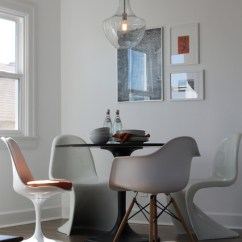 Eames Style Plastic Chair White Wedding Covers Uk Panton, Saarinen And Chairs With Table Edison Bulb Pendant - Modern Dining ...
