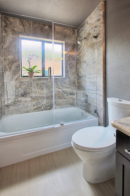 Frameless Glass Door And Panel Over A Bathtub