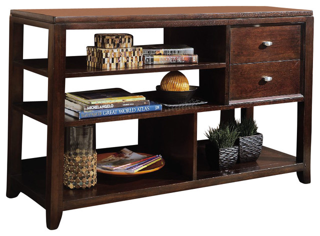 american drew tribecca sofa table leather sets dubai in root beer color transitional console tables by beyond stores