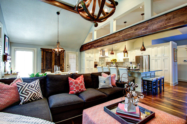 Rustic Elegant Kitchen & Hearth Space Rustic Family Room