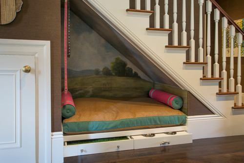 Pet bed under the stairs