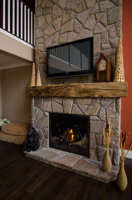 White Painted Fireplace Brick Hand Hewn Barn Beam Mantels - Traditional - Living Room