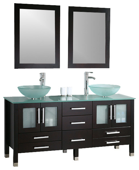 cambridge 63 inch solid wood and glass double vessel sink vanity set brushed