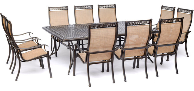 Manor 11 Piece Dining Set With Sling Chairs And Extra Large Dining Table Traditional Outdoor Dining Sets By Almo Fulfillment Services Mandn11pc Houzz