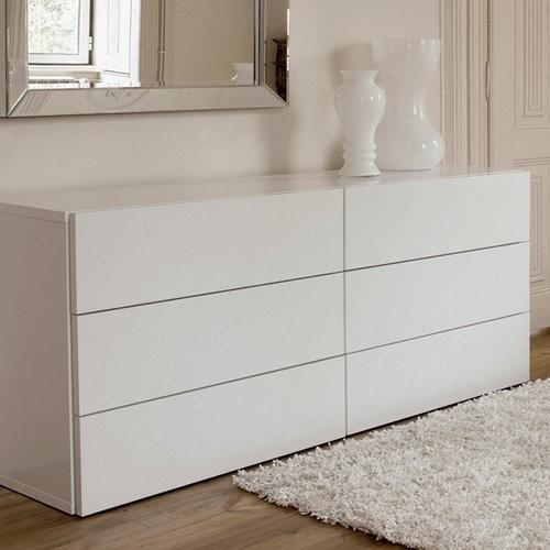 Aurora 6 Drawer White Dresser  Modern  Dressers  by Hayneedle