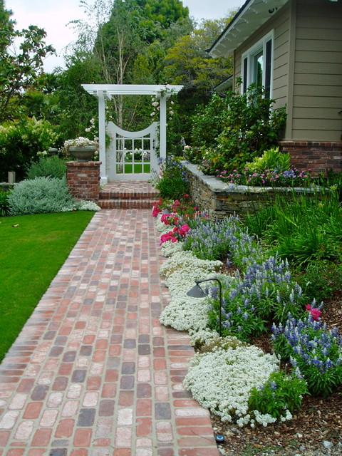 Traditional Cottage Garden Rancho Santa Fe Landscape Brick Stone