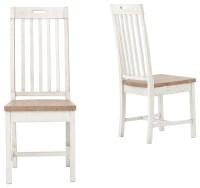 Coastal Beach Rustic White Wood Dining Room Chair, Set of ...