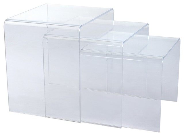Translucent Acrylic Nesting Tables, Set Of 3