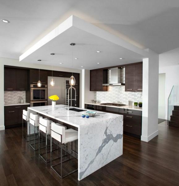 modern waterfall kitchen island countertop Kitchen Waterfall Island - Modern - Kitchen - Vancouver - by Meister Construction Ltd
