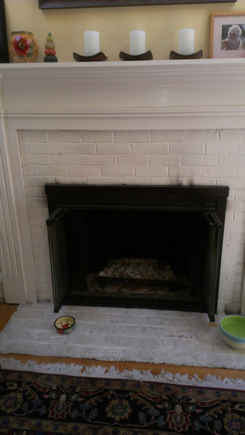 Ideas for revamping white painted brick fireplace surround