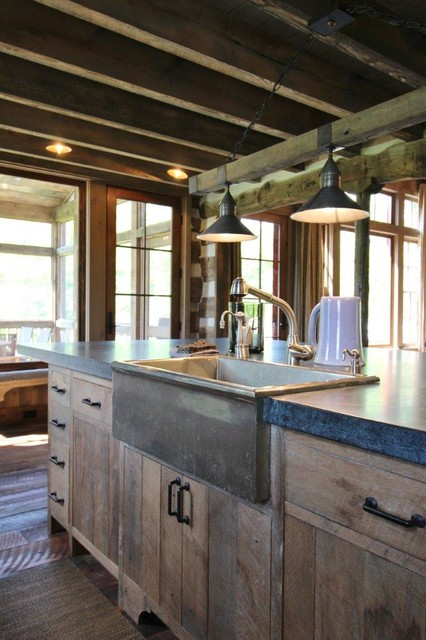 Custom Fishing Lodge rustic-kitchen