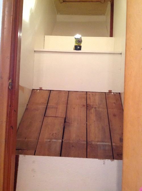tall kitchen pantry timers odd shaped closet over basement stairs. wondering how to ...