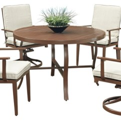 Key West Chairs Bar Stools 5 Piece Round Patio Dining Set Chocolate Transitional Outdoor 4