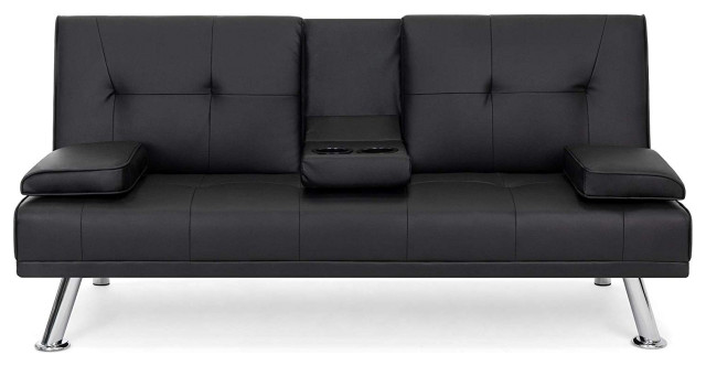 modern entertainment futon sofa bed down recliner couch with cup holders black