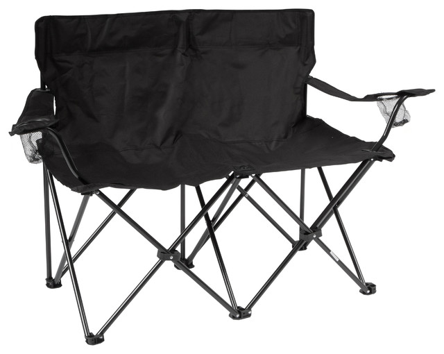 double camping chairs folding bathtub for elderly loveseat style camp chair with steel frame contemporary outdoor by trademark innovations