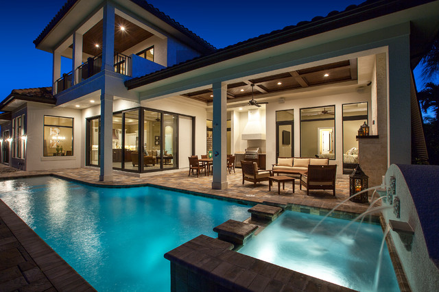 West Indies Waterfront Home Traditional Pool Miami
