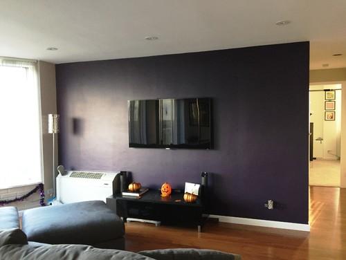 Need Help Decorating My Purple Family Room TV Wall