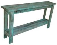 Aqua Distressed Sofa Table