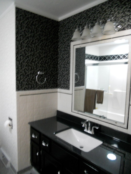 houzz sofas leather sofa woodland hills our black & white guest bathroom before and after an update.