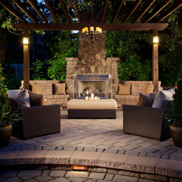outdoor living space with fireplace Past Projects - Traditional - Patio - Charlotte - by