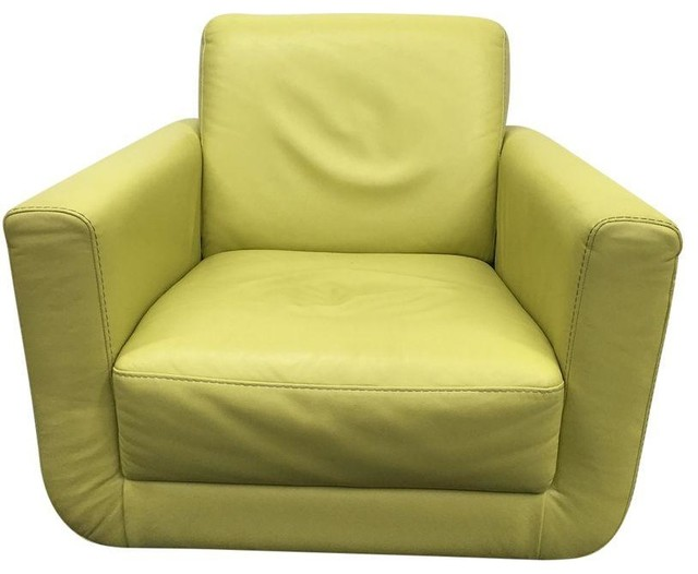 Yellow Leather Accent Chair