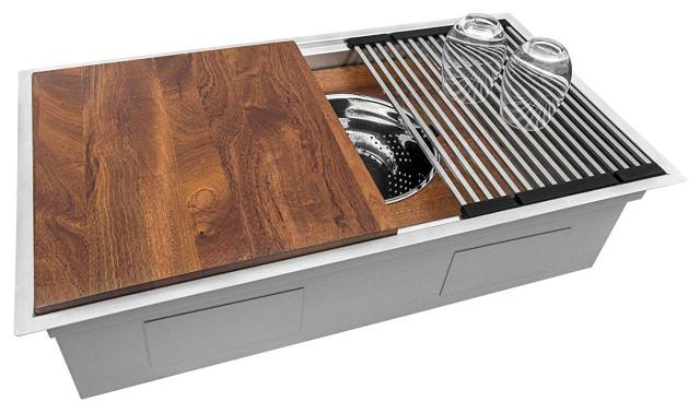 ruvati 33 workstation kitchen sink undermount stainless steel rvh8222