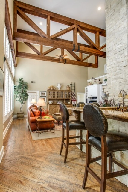 Rustic Wood Ceiling Beams Traditional Family Room Dallas By Dfw Improved