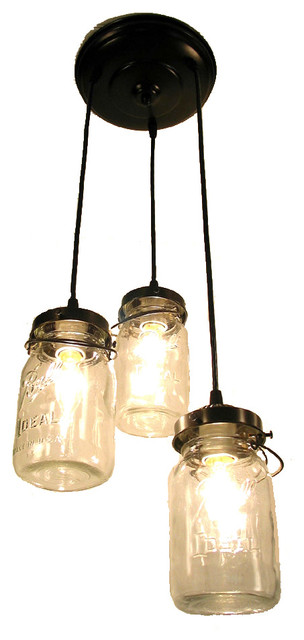Mason Jar Chandelier Trio With Vintage Quart Jars Oil Rubbed Bronze Pendant Lighting