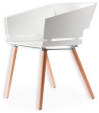 Kubix Modern White Plastic Arm Chair, Plastic Seat ...