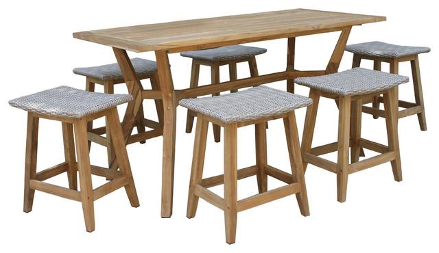 7 piece nautical teak counter height dining set with saddle stools