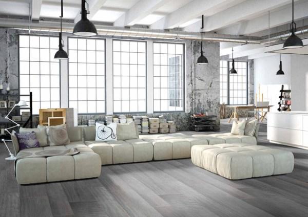 gray porcelain tile living room Modern grey loft style living room with porcelain wood floors - Modern - Living Room - Miami