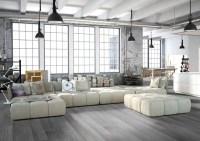 Modern grey loft style living room with porcelain wood ...