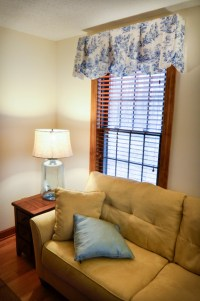 Blue and white Sheffield valances - Traditional - Living ...