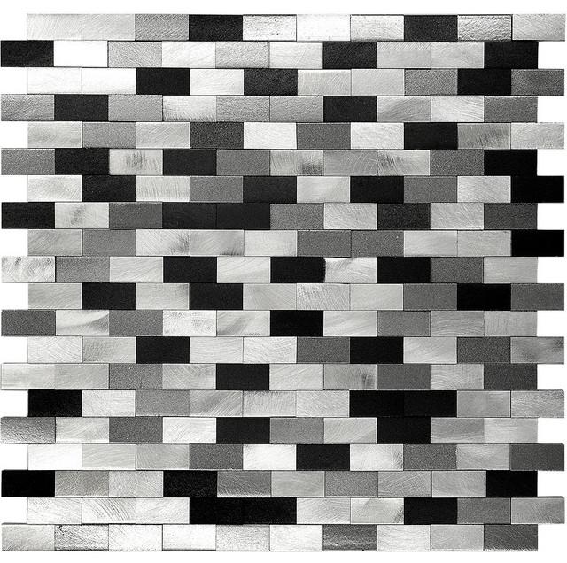 3d metal aluminum black white gray mosaic kitchen backsplash tile 12 x12