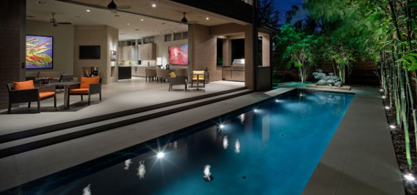 contemporary landscape and pool