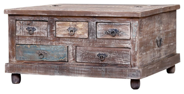 irvine reclaimed wood square coffee table chest with 5 drawers